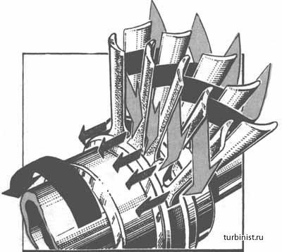 Ступень реактивной паровой турбины.  Современные паровые турбины главной энергетической установки состоят обычно из...